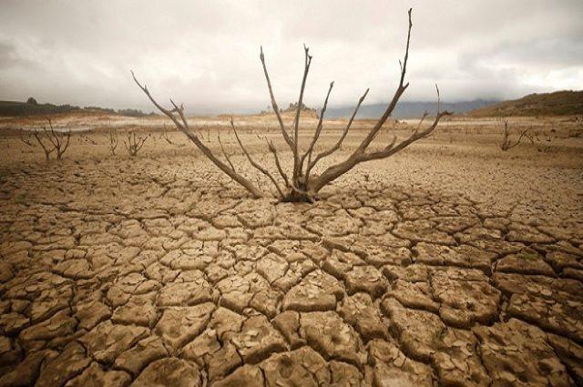 El embalse de Theewaterskloof, cerca de Ciudad del Cabo, Sudáfrica, completamente seco